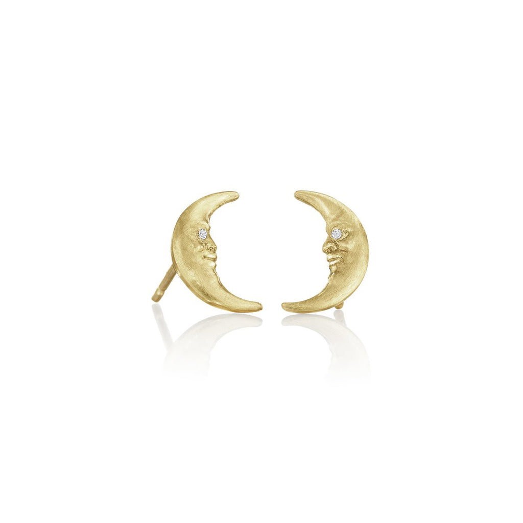 Crescent Moonface Stud Earrings