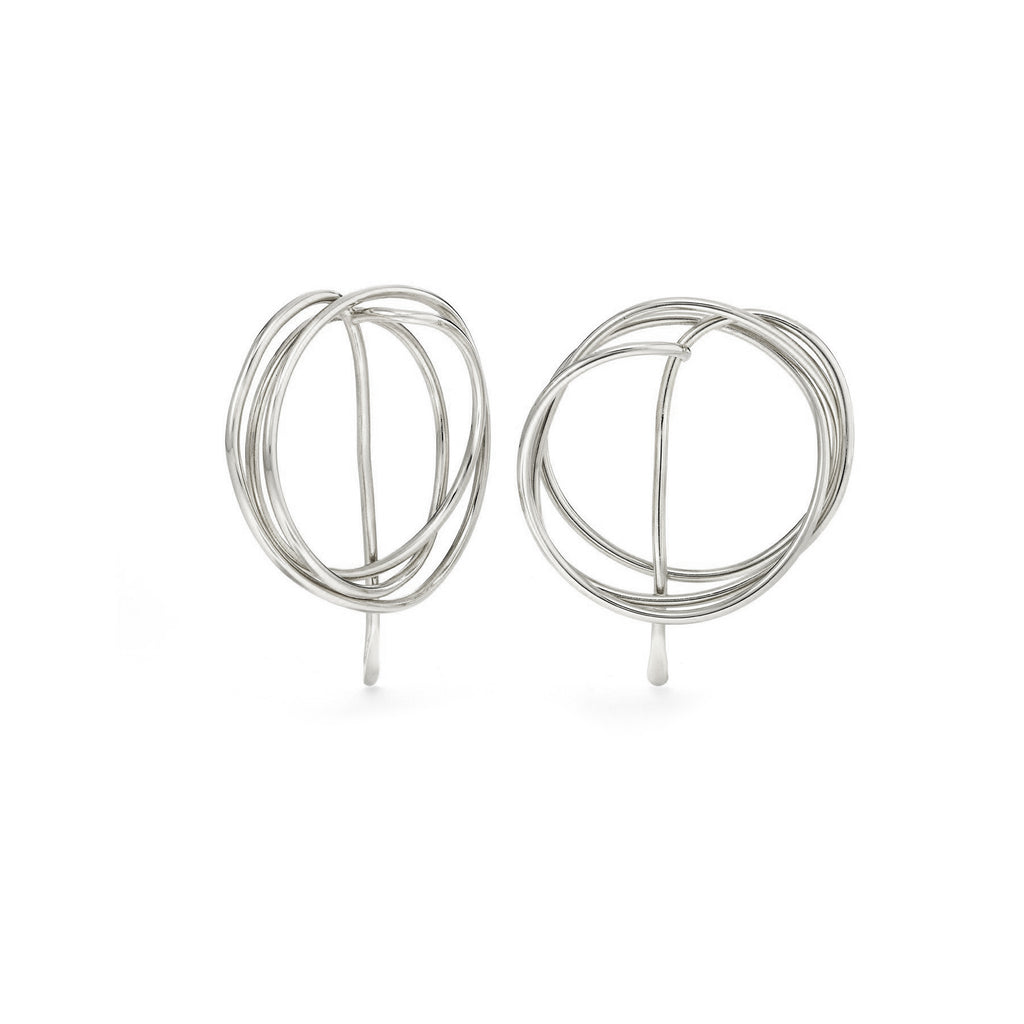 Drawing No. 2 Earrings, Silver