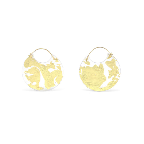 Gold Encasement Earrings, Small
