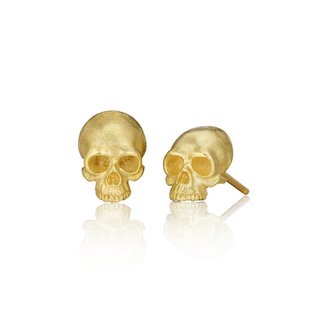 Skull Stud Earrings, Gold