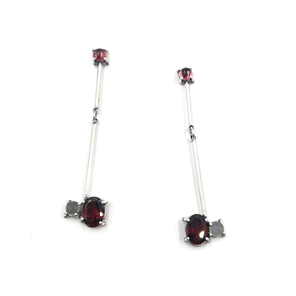 Stick Earrings, Garnet