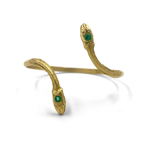Gold Emerald Serpentine Cuff