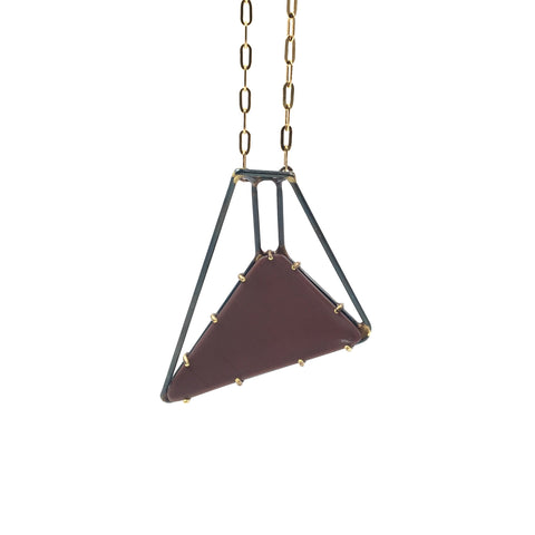 Foundation Trapezoid Necklace, Mauve Vinyl