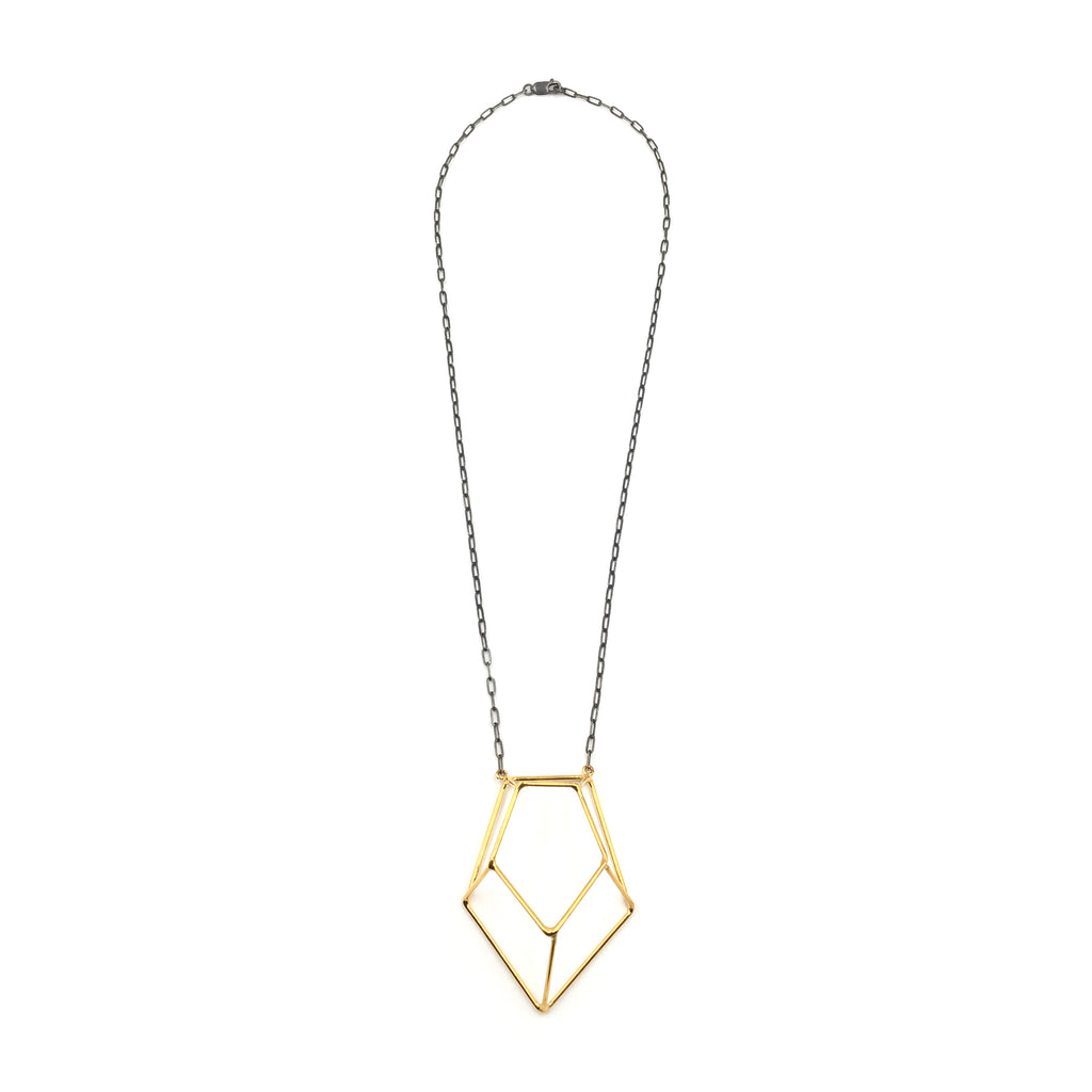 Crystalline Construction Necklace, Two-tone