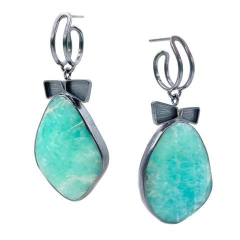 Amazonite Drop Hoops