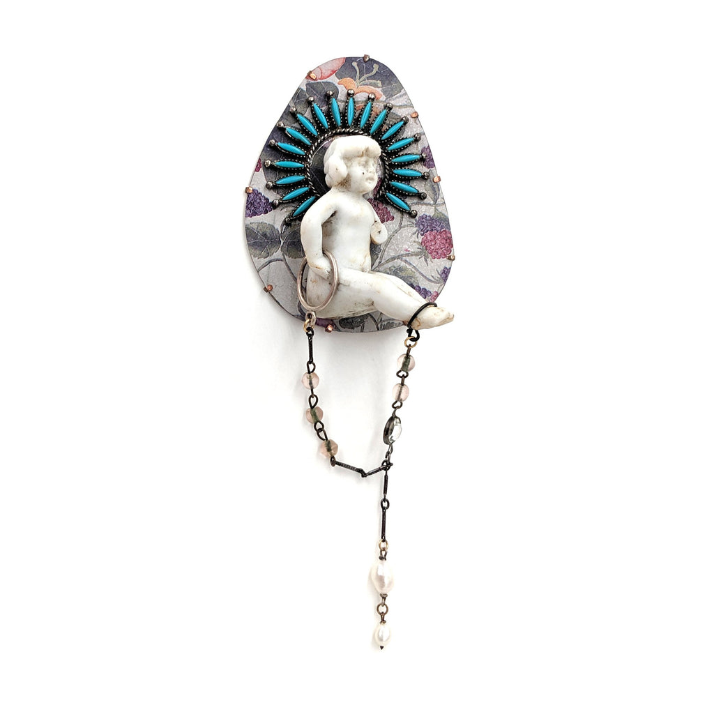 Turquoise Crowned Baby Brooch