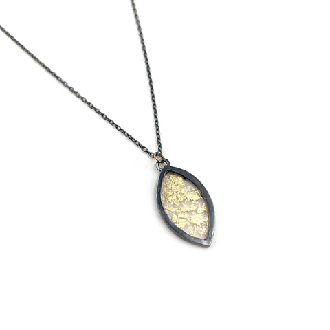 Gold Leaf Marquise Necklace, Small