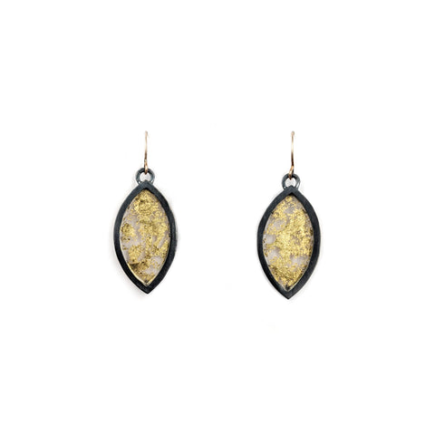 Gold Leaf Marquise Earrings, Small