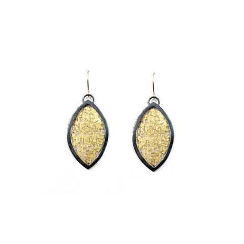 Luana Coonen, Gold Leaf Marquise Earrings, Large
