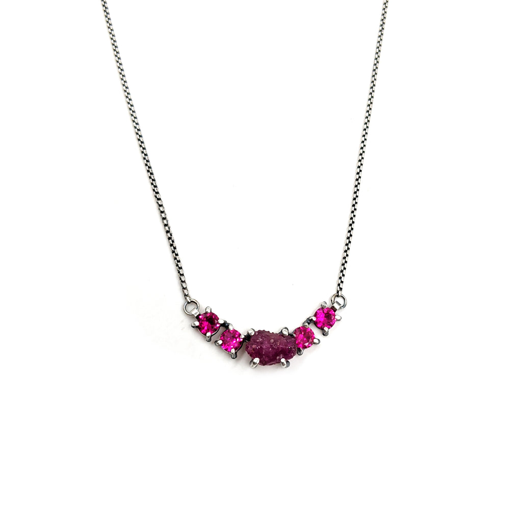 Five Stone Row Necklace, Pink