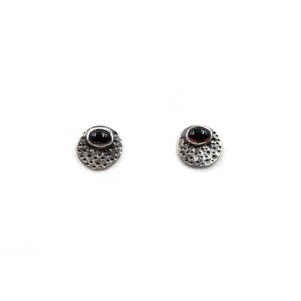 Dotted Pebble Studs, Garnet