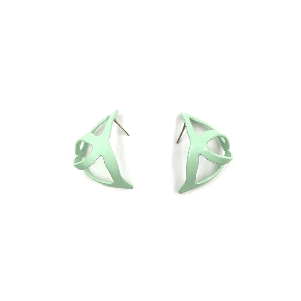 Open Weave Scoop Studs, Mint