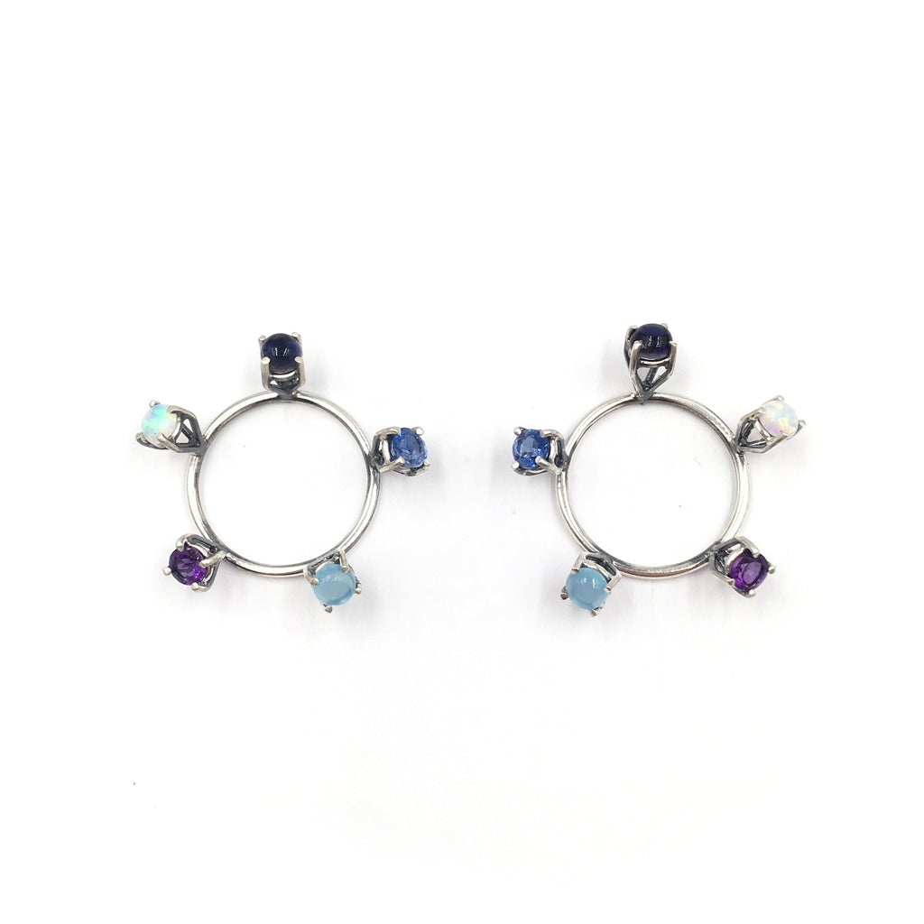 Five Stone Circle Earrings