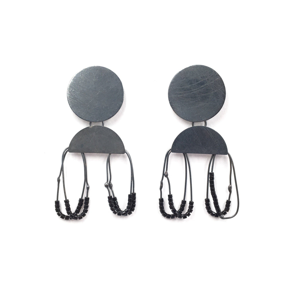 Circular Constellation Drop Earrings, Black