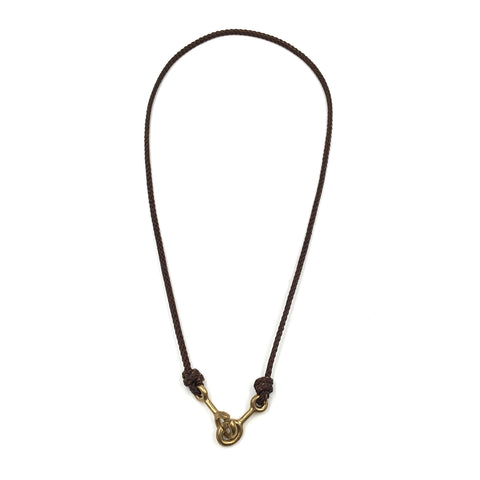 Sister Clasp Necklace, Brown Cord