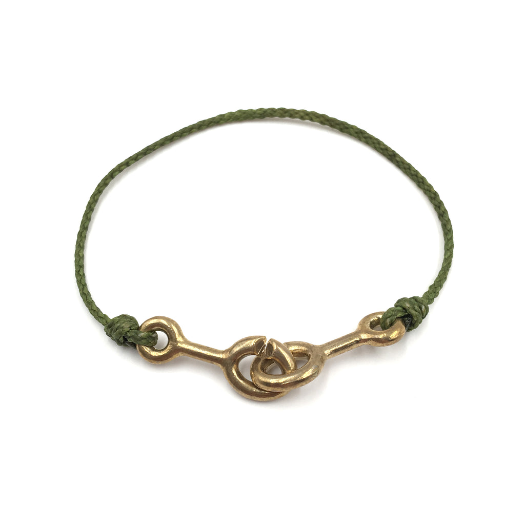 Sister Clasp Bracelet, Moss Cord