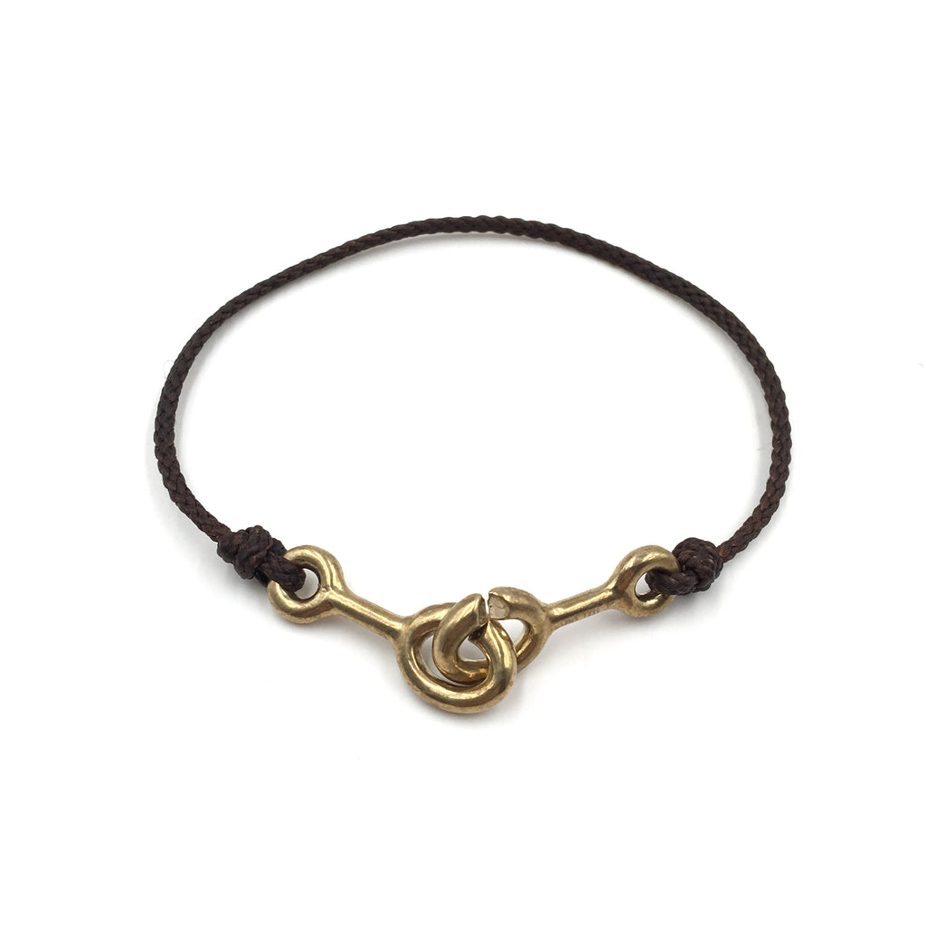 Sister Clasp Bracelet, Brown Cord