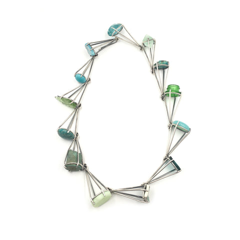 Green Prong Link Necklace