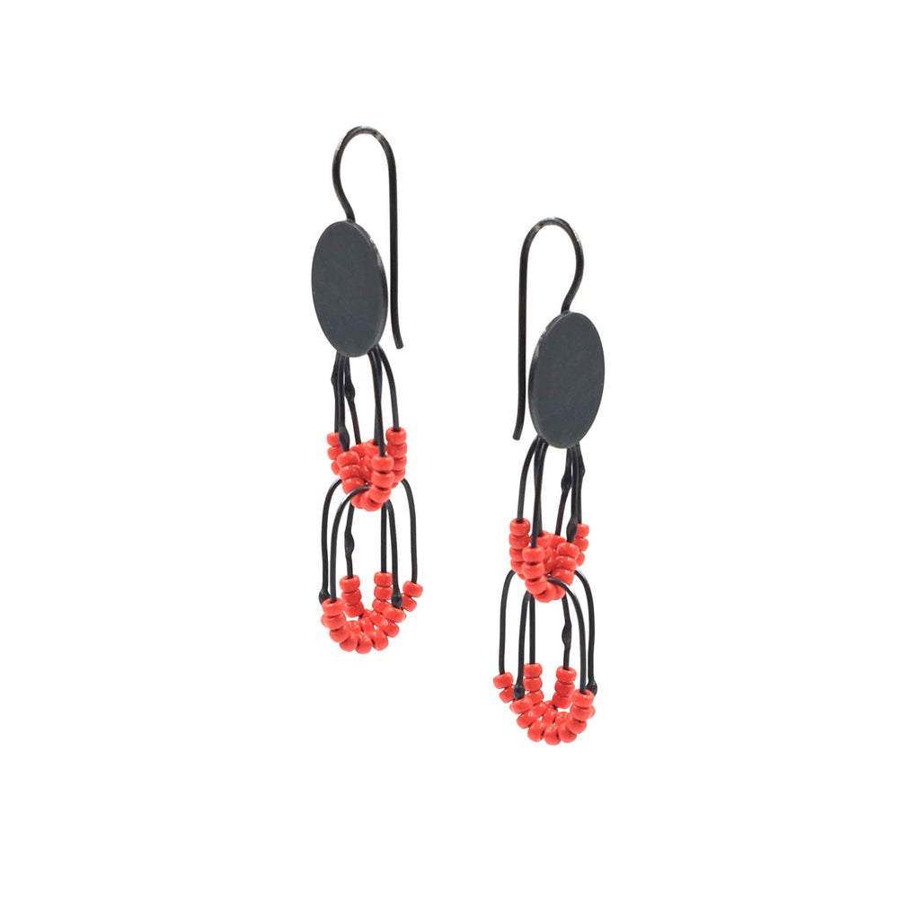 Circular Constellation Drop Earrings, Red