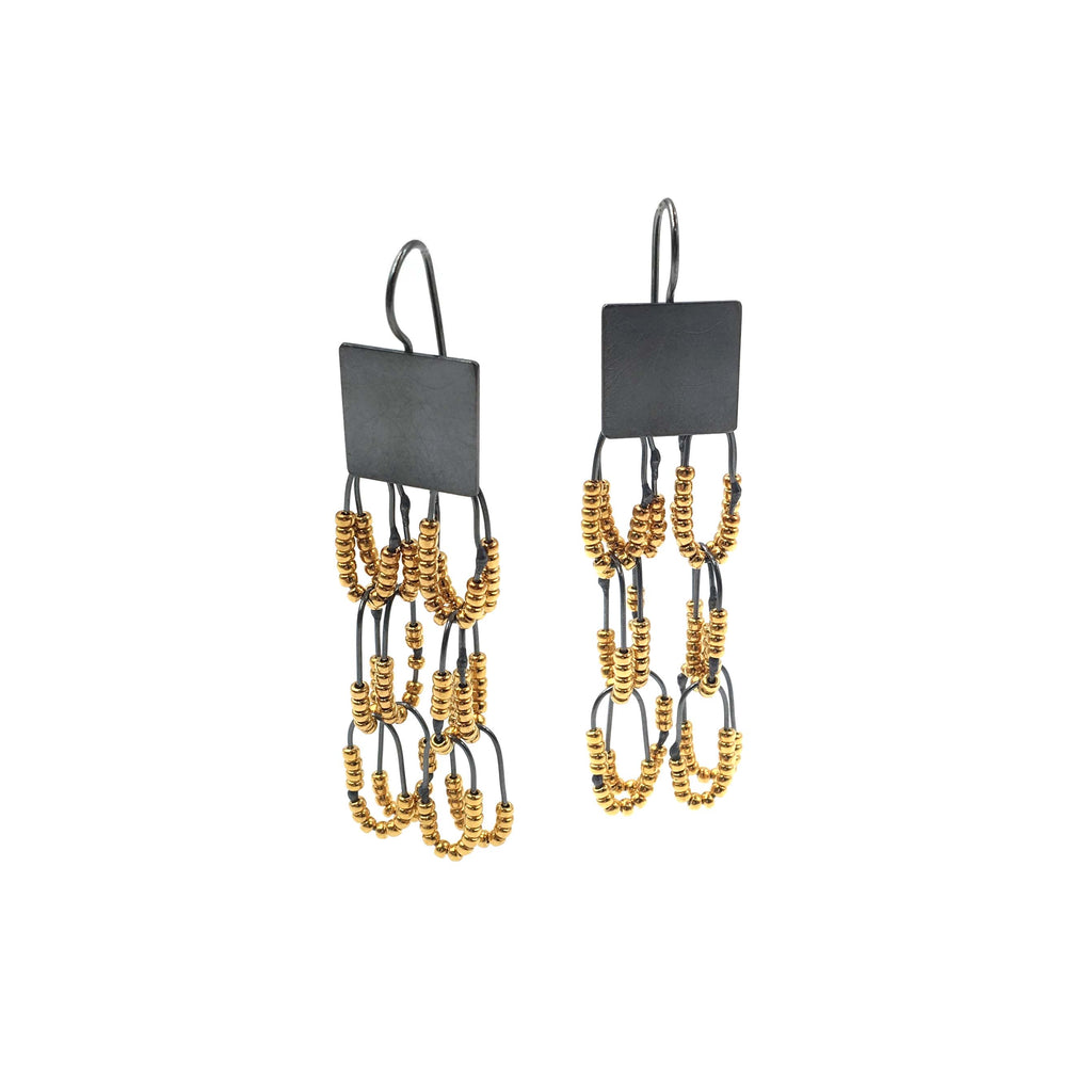 Square Drop Constellation Earrings, Gold