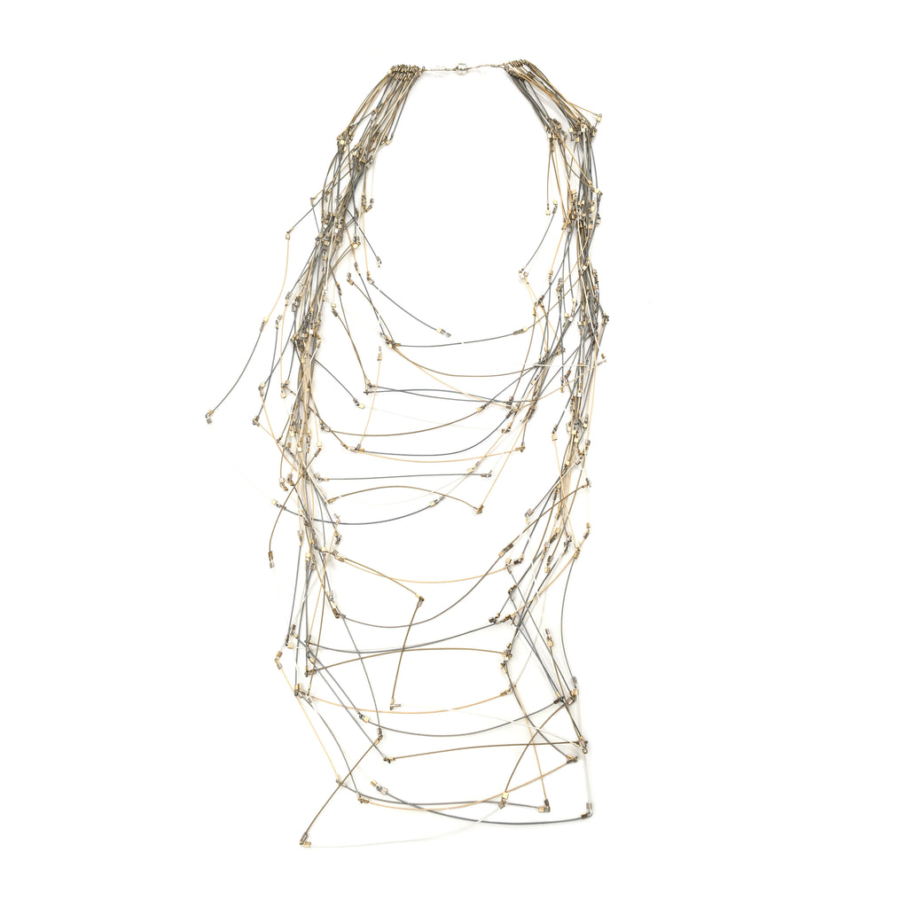 Maxi Line Segments Necklace, Mixed Metals