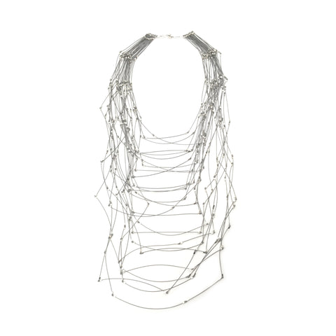 Maxi Line Segments Necklace, Silver
