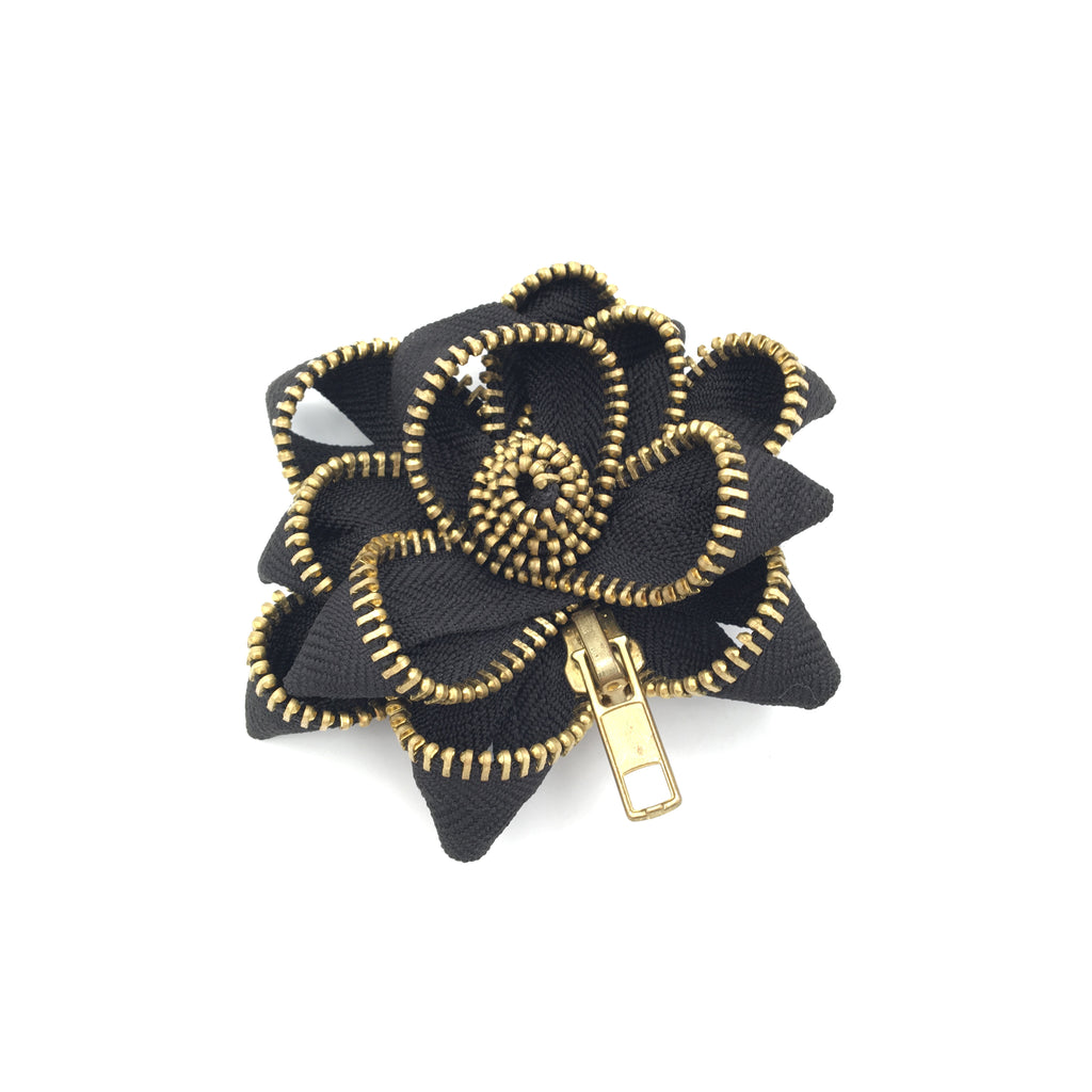 Zipper Pin, Black and Gold