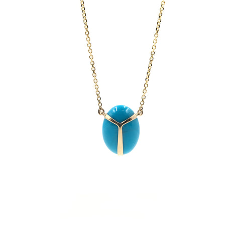Lucky Scarab Turquoise Pendant