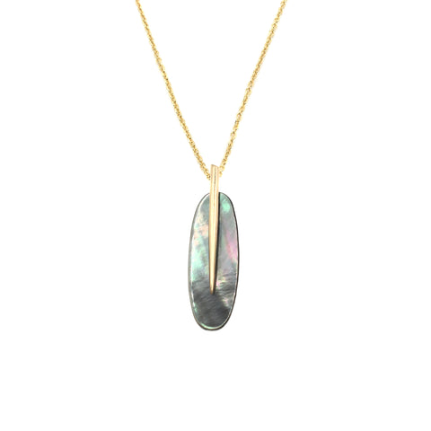 Small Feather Pendant, Black Mother-of-Pearl