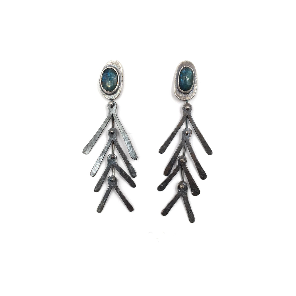 Kyanite Feather Earrings