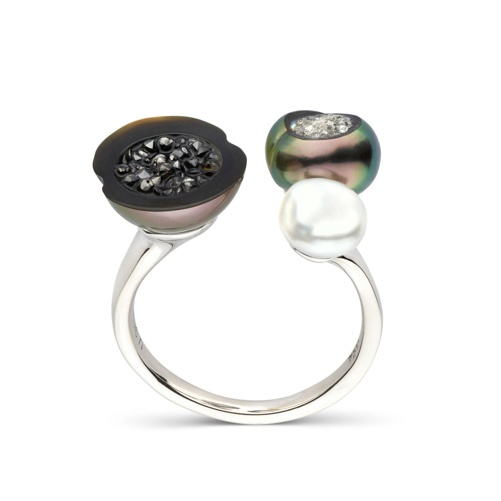 Tahitian Baroque Pearl Geode Triple Ring