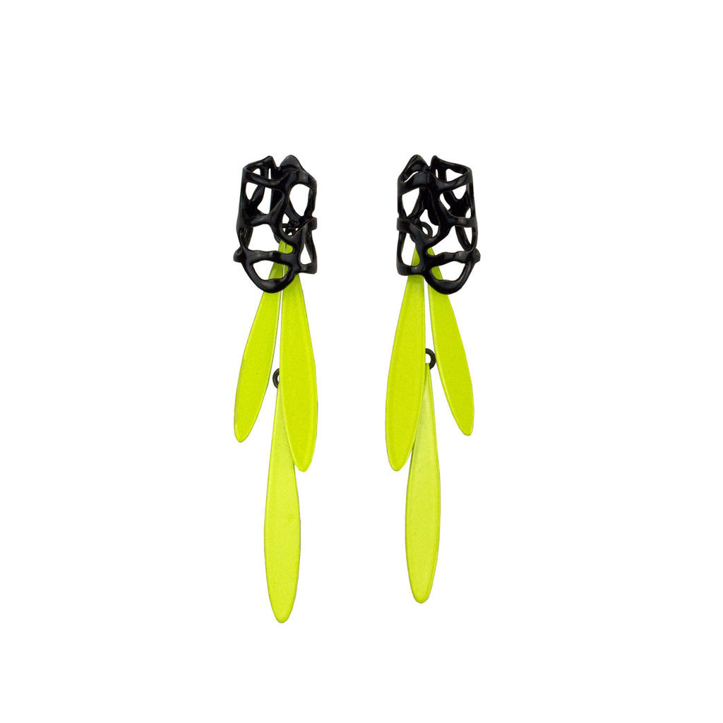 Lace Fringe Earrings, Chartreuse