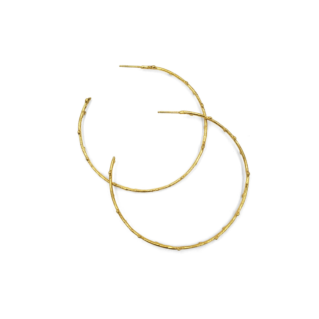 Golden Twig Hoops, Large