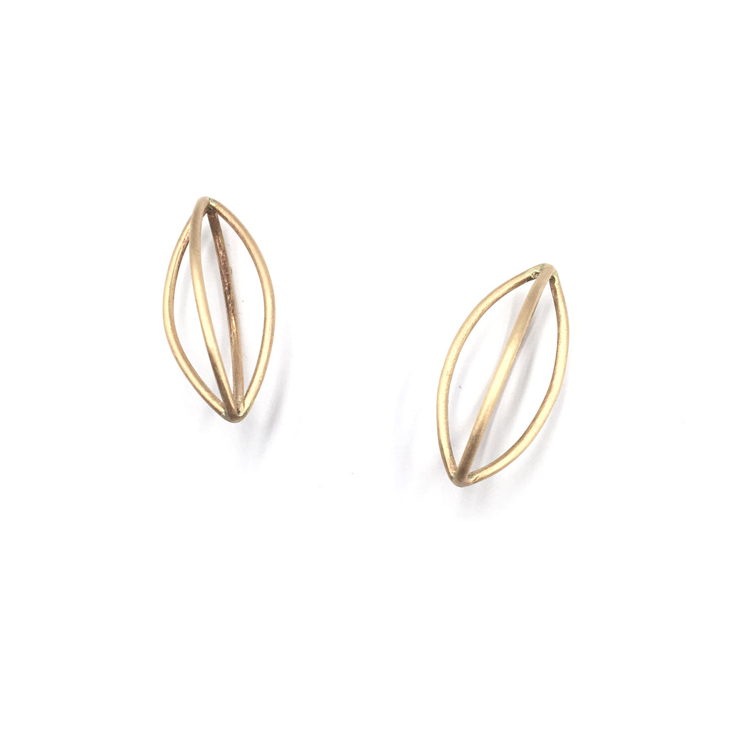 Gold Pod Earrings, Large