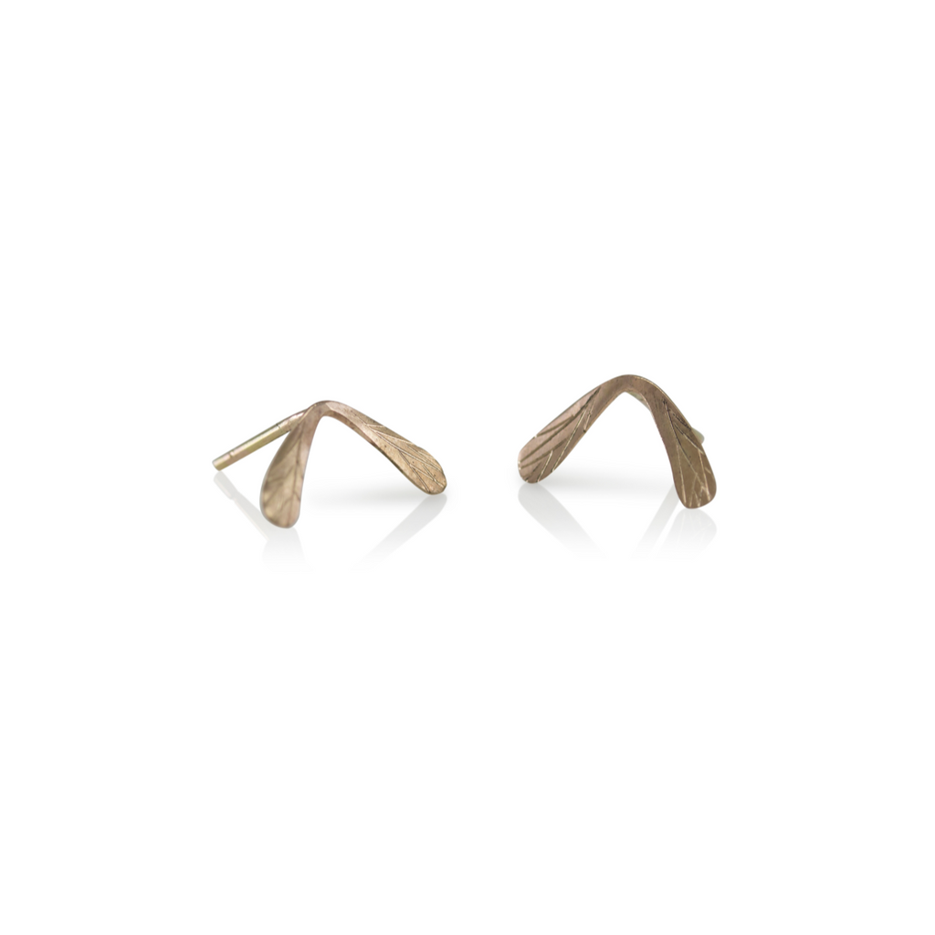 Maple Seed Studs, Gold