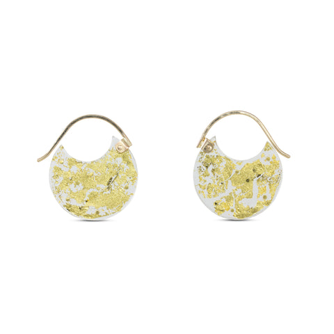 Gold Encasement Earrings, Extra Small