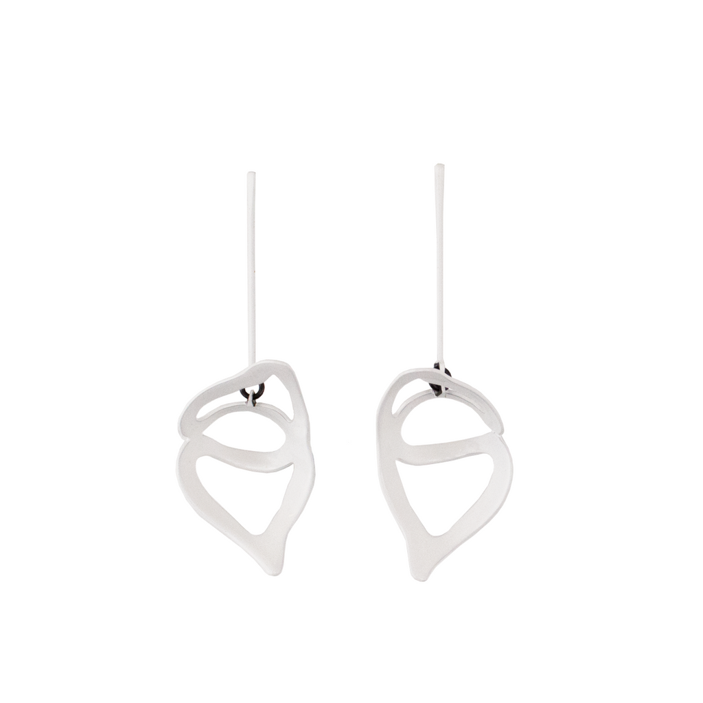 Open Weave Scoop Drop Earrings, White