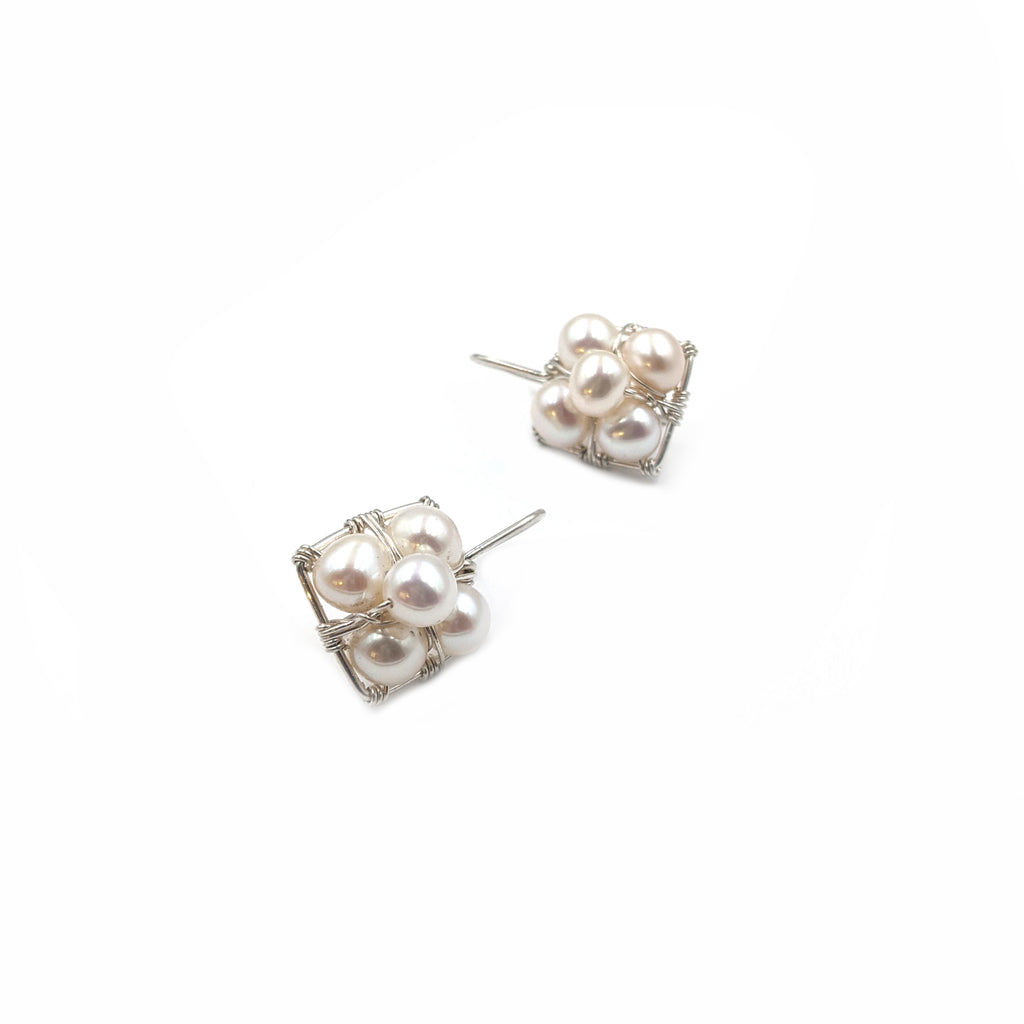 Square Pearl Stack Earrings