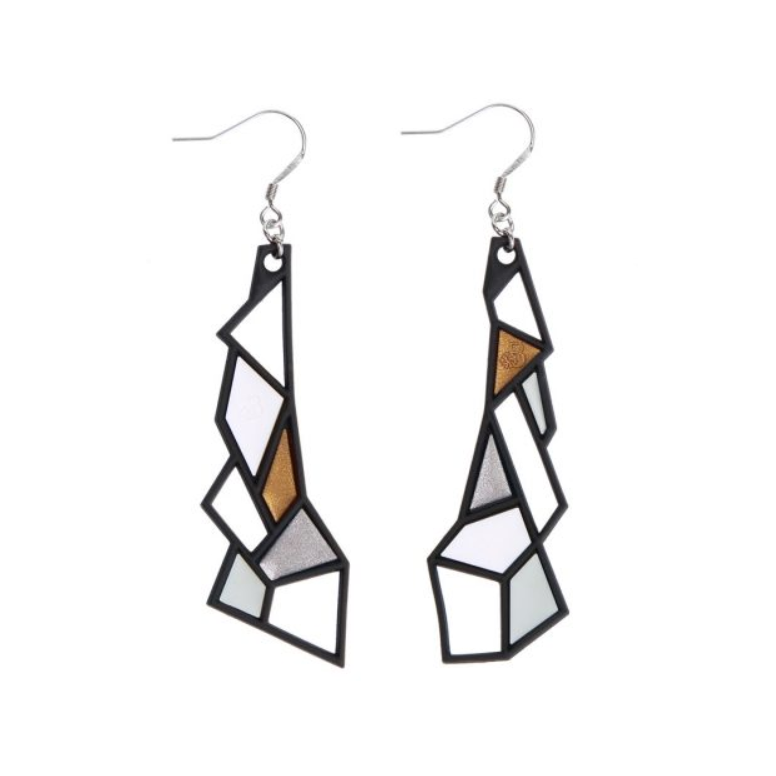 Prism Earrings, Silver & Gold
