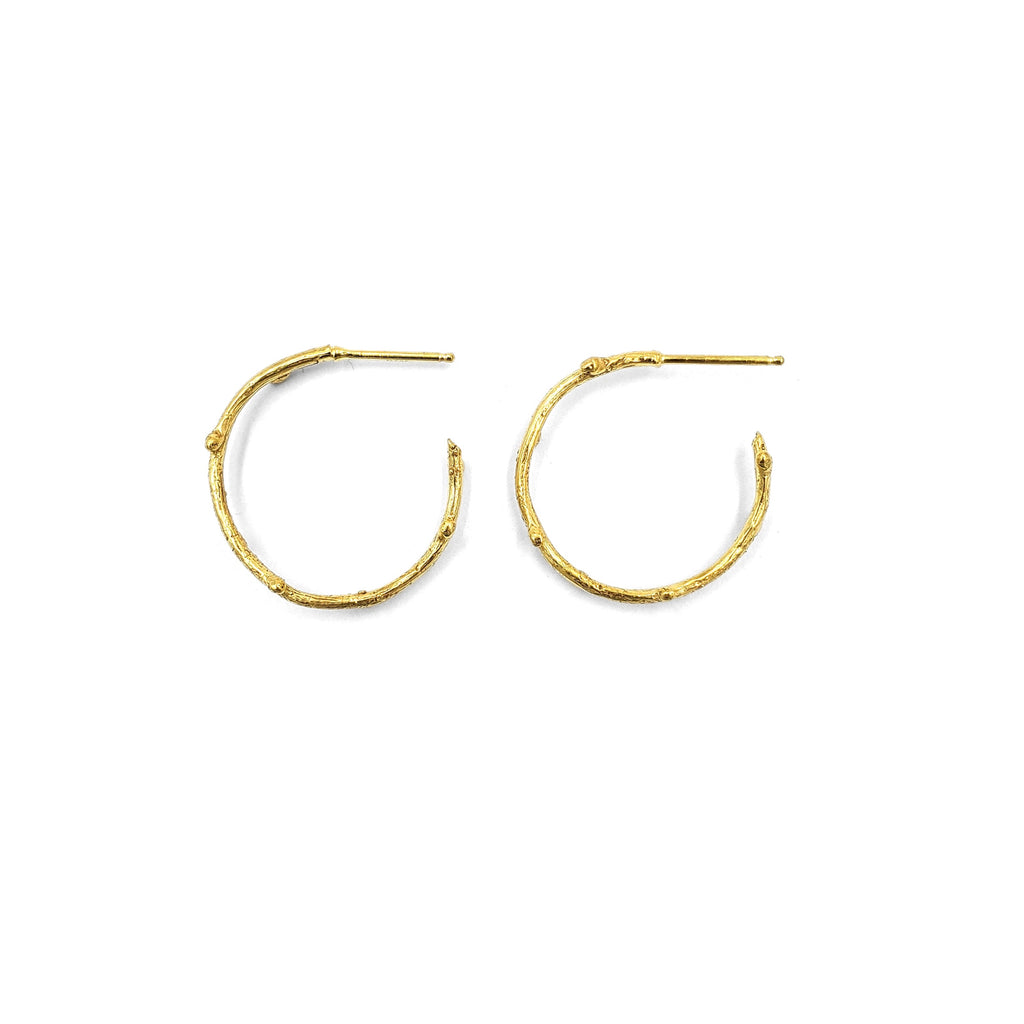 Golden Twig Hoops, Small