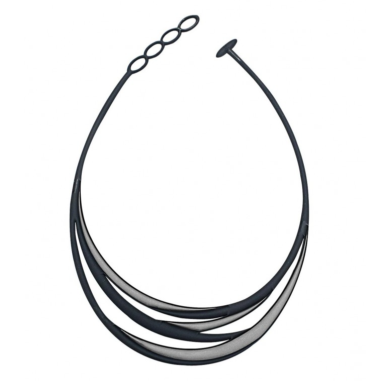 Swell Necklace, Silver and Black