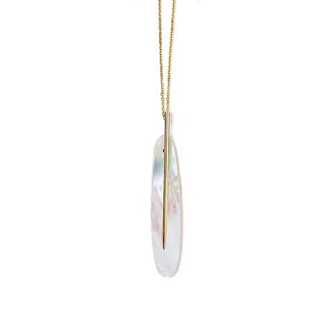 Large Feather Pendant, Mother-of-Pearl