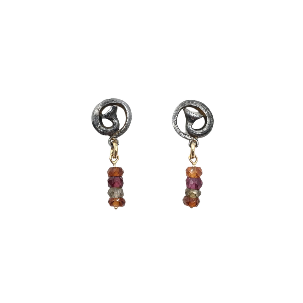 Scrolled Nail Earrings With Sapphire Bead Drops