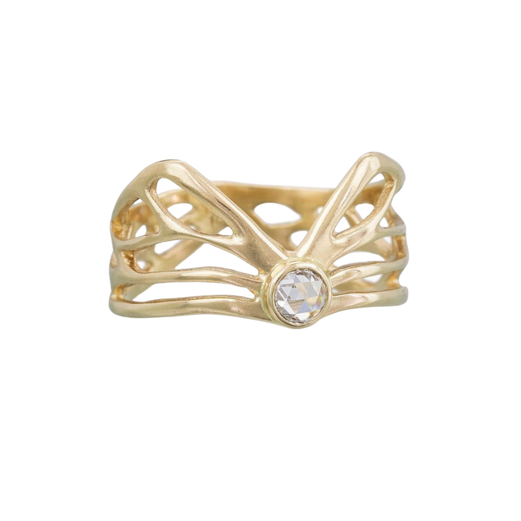 Diamond Winged Ring, Gold