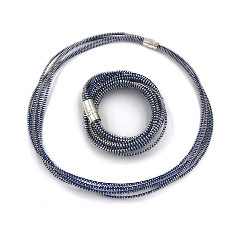 Saturn Silver and Blue Necklace/Bracelet