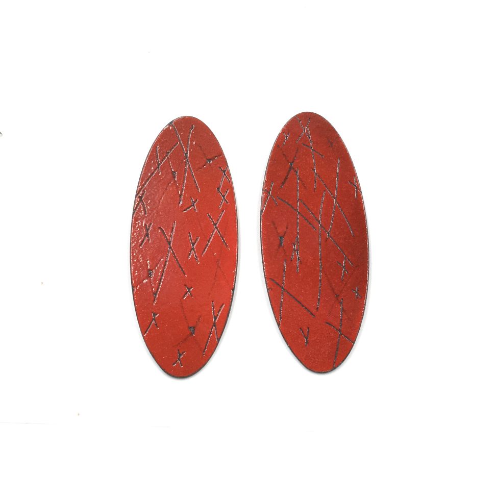 Oval Earrings, Red with Xs