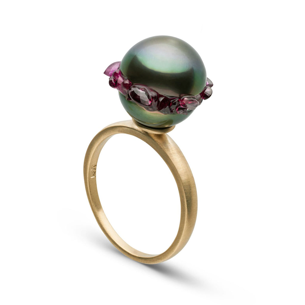 Tahitian Baroque Pearl Ruby Spiral Ring