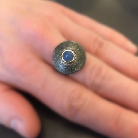 Nail Ring with Blue Agate