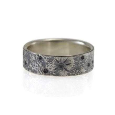 Moon Texture Ring, Silver