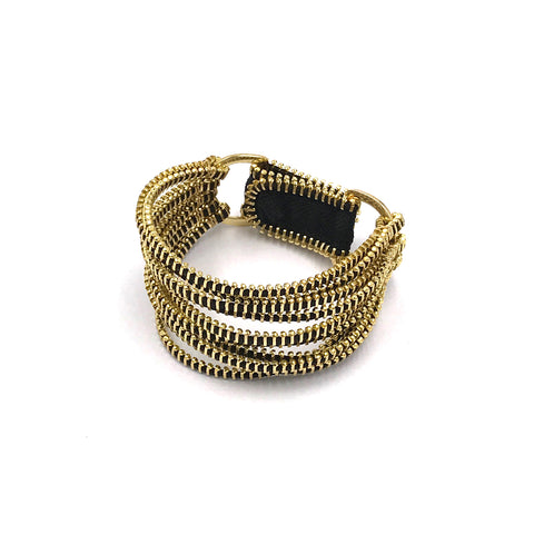 Tress Bracelet, Black & Gold